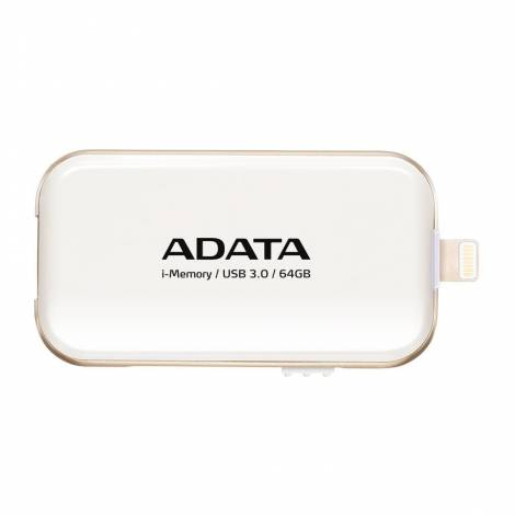 ADATA UE710 64GB MFi Certified i-Memory Lightning/ USB 3.0 Retractable Capless Flash Drive for iOS iPad, iPhone, Mac & PC, White (AUE710-64G-CWH)