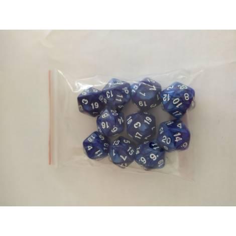 ΚΑΙΣΣΑ  10 Pearl D20 Blue/White Dice (KA113605)