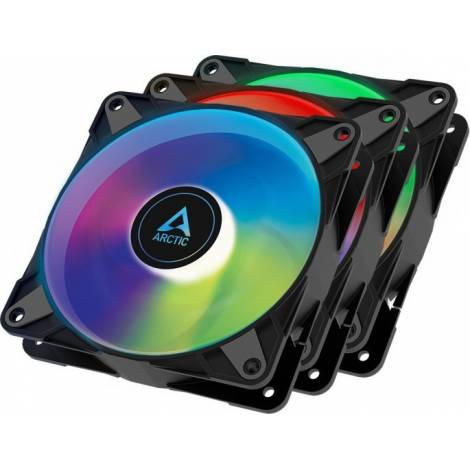 Arctic P12 PWM PST A-RGB – 3 Case Fans 0dB 120mm Pressure Optimized PWM Controlled Speed With PST-A