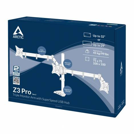 Arctic Z3 Pro Gen 3 (Matt black) Triple-Monitor Arm 4 ports USB 3.0 hub (AEMNT00051A)
