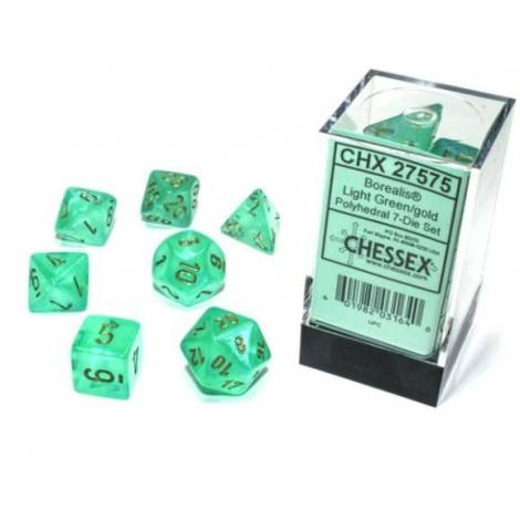 Borealis Luminary Light Green/Gold Polyhedral 7-Die Set  (CSX27575)