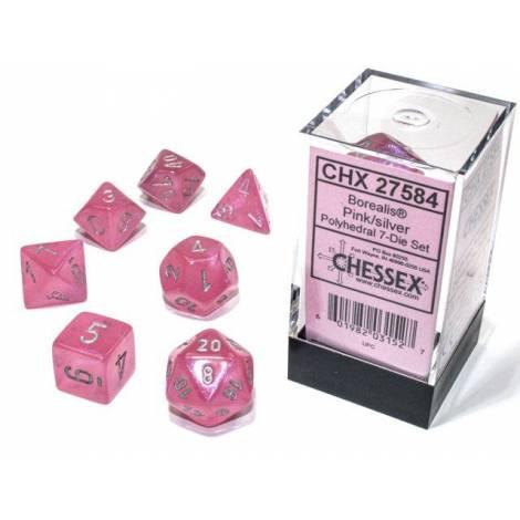 Borealis Luminary Pink/Silver Polyhedral 7-Die Set (CSX27584)