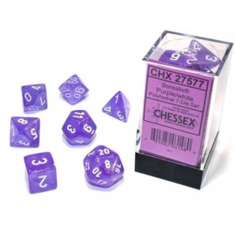 Borealis Luminary Purple/White Polyhedral 7-Die Set  (CSX27577)