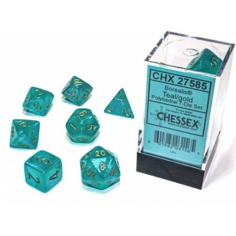 Borealis Luminary Teal/Gold Polyhedral 7-Die Set  (CSX27585)