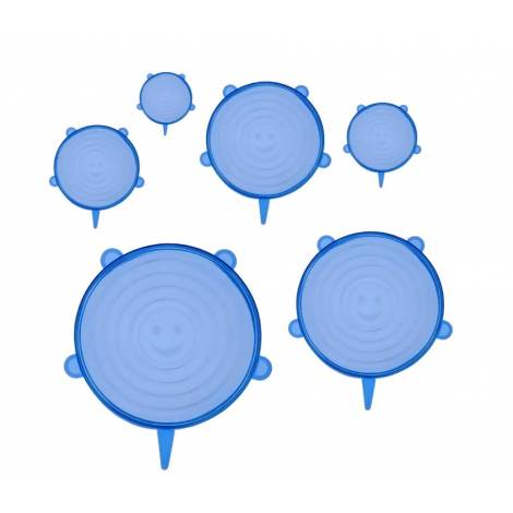BRUNO σετ σιλικονούχων καπακιών για δοχεία τροφίμων, 6τμχ, μπλε (BRN-0044)