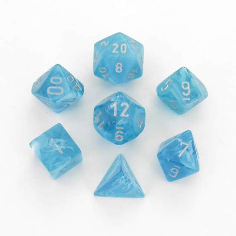 CHESSEX Aqua/Silver 7 dice Set (CHX27465)