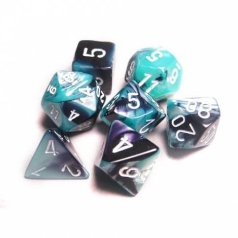 Chessex Gemini Black-Shell/White Polyhedral 7-Dice Set CHX26446