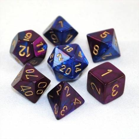 Chessex Gemini Blue-Purple W/Gold 7-Die Set  (CHX26428)
