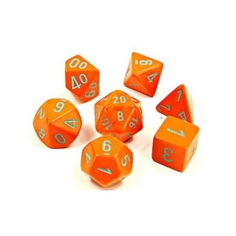 Chessex Heavy Orange / Turquoise Polyhedral 7-Die Set (CSX30038)