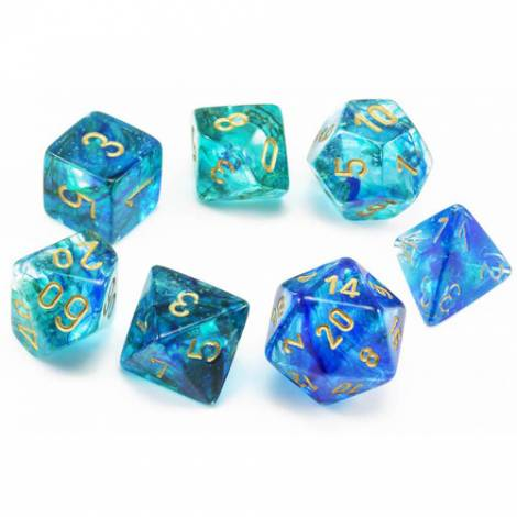 Chessex Luminary Oceanic / Gold Polyhedral (CSX27556)