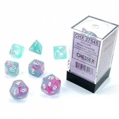 Chessex Luminary Wisteria / White Polyhedral 7-Die Set (CSX27545)