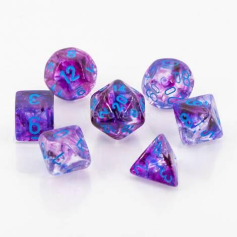Chessex Nebula Luminary Nocturnal/Blue Polyhedral 7-Die Set (CSX27557)