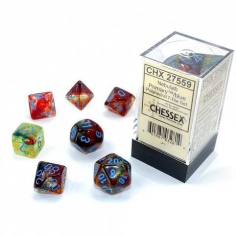Chessex Nebula Luminary Primary/Blue Polyhedral 7-Die Set (CSX27559)