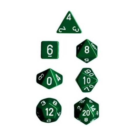 CHESSEX Opague Green-white 7 Die Set (CHX25405)