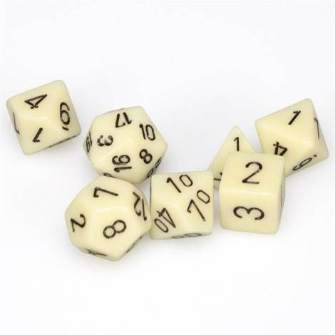 Chessex Opaque Ivory/Black 7-Die Set  (CHX25400)
