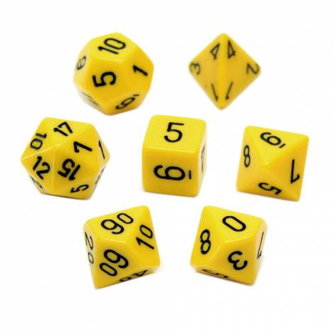 Chessex Opaque Yellow/Black 7-Die Set  (CHX25402)
