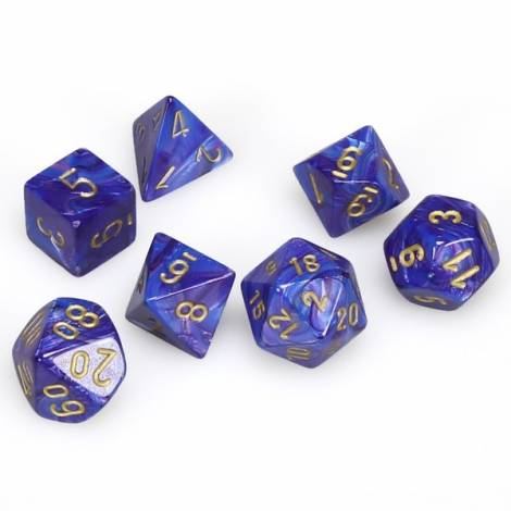 CHESSEX Purple w/gold  Lustrous 7 dice  (CHX27497)