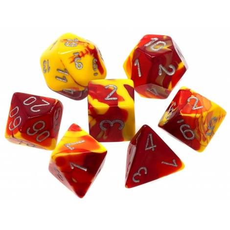 CHESSEX  Red-Yellow-Silver (7 Dice Set)  (CHX26450)