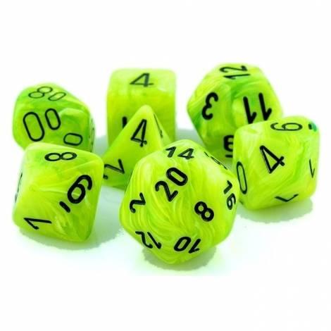 Chessex Vortex Bright Green/Black Polyhedral 7-Die Set (CHX 27430)