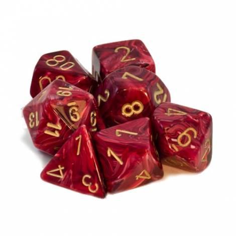 Chessex Vortex Burgundy/Gold Polyhedral 7-Die Set  (CHX27434)