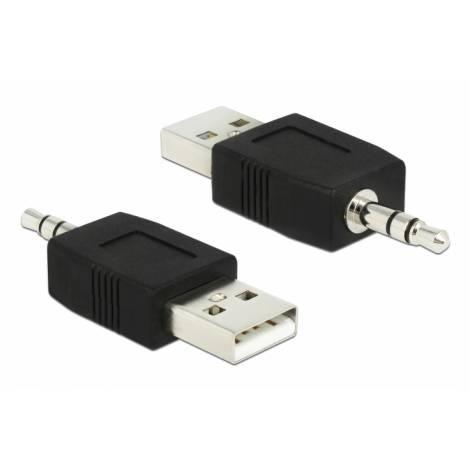 DELOCK Αντάπτορας USB 2.0 σε Stereo Jack 3.5mm , μαύρο (66069)