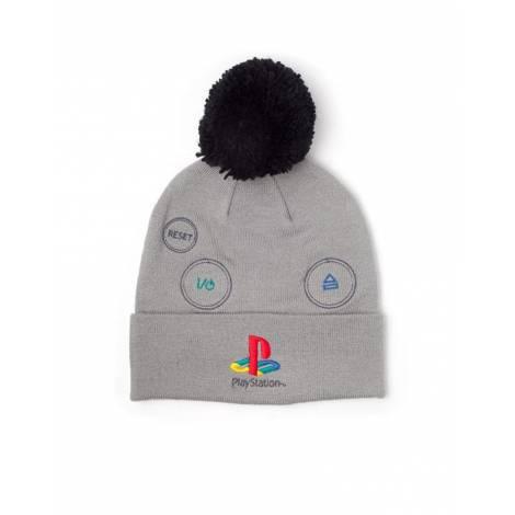 Difuzed PlayStation - Silver Logo with Pompon Beanie (KC627138SNY)