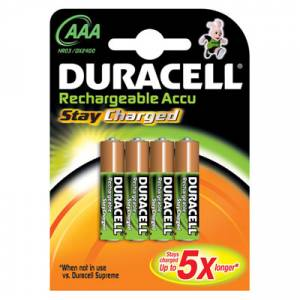 DURACELL RECHARGEABLE STAY CHARGED 750mAh AAA - 4 PACK
