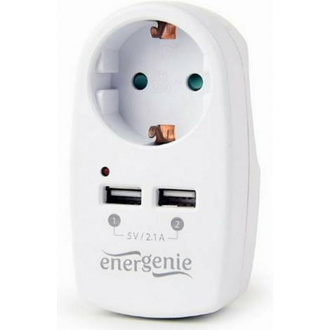 Energenie 2-Port USB Charger With Pass-Throught AC Socket 2.1A White