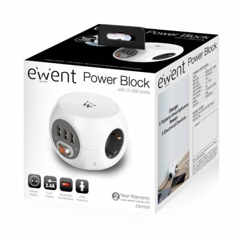 Ewent Cube Power Strip 4 outlets Schuko + 3x USB 2.4A, on/off switch, cable 1.5m, white (EW3939)