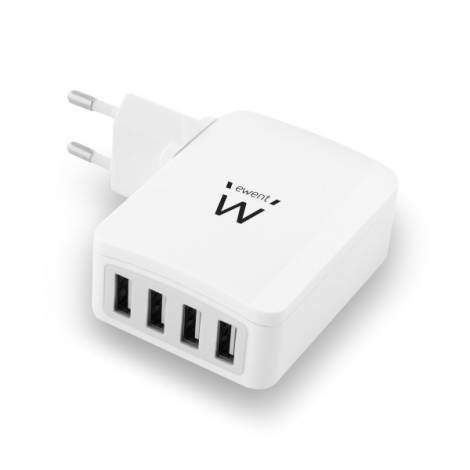Ewent USB AC charger, smart IC, 4 ports, 5.4A (27W), white (EW1304)