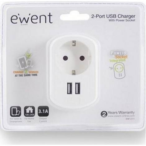 Ewent USB AC charger, 2 ports, 3.4A (17W), with Shuko Power socket, white (EW1211)