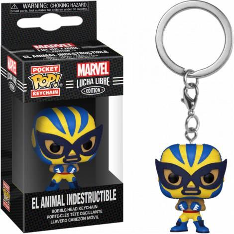 Funko Pocket POP! Marvel Lucha Libre Edition - El Animal Indestructible Bobble-Head Vinyl Figure Keychain