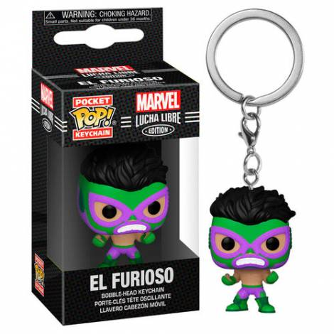 Funko Pocket POP! Marvel Lucha Libre Edition - El Furioso Bobble-Head Vinyl Figure Keychain