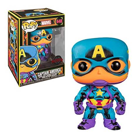 Funko POP! Marvel : Black Light - Captain America (Special Edition) #648 Bobble-Head Vinyl Figure