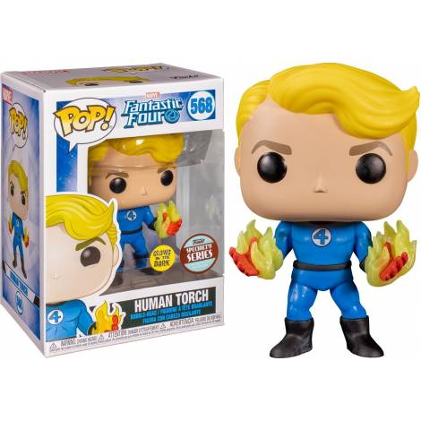 Funko POP! Marvel: Fantastic Four - Human Torch (Glows in the Dark) (Limited Edition Exclusive) #568 Bobble-Head Vinyl Figure
