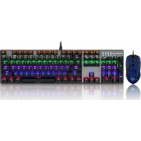Gaming Keyboard Mouse Combo Motospeed CK666 Wired Mechanical Rainbow Gr lay out
