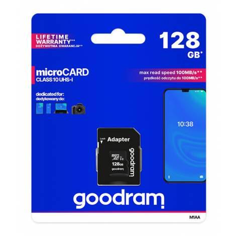 GOODRAM κάρτα μνήμης M1AA microSDΧC UHS-1, 128GB, Class 10 (M1AA-1280R12)
