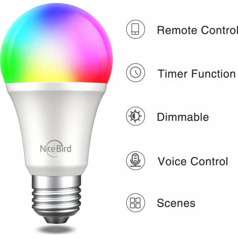 GOSUND SMART BULB NITEBIRD WB4, WIFI SMART LED, RGB AND WHITE (2700K), 8W, 800LM, E27, WORKS ALSO WITH AMAZON ALEXA, GOOGLE ASSISTANT, IFTTT, 2YW.