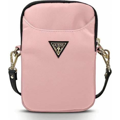 Guess Nylon Triangle Logo Τσάντα Ροζ (Universal 8