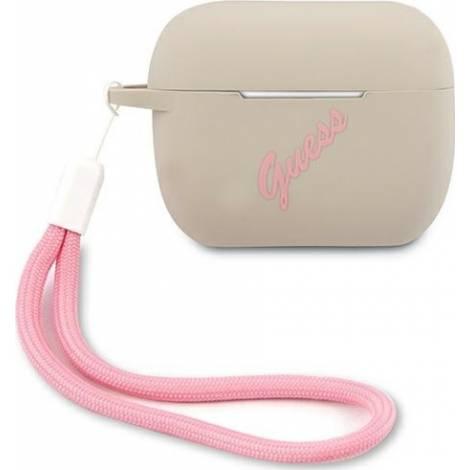 Guess Silicone Vintage Γκρι θήκη για Apple Airpods Pro (Pink Logo)