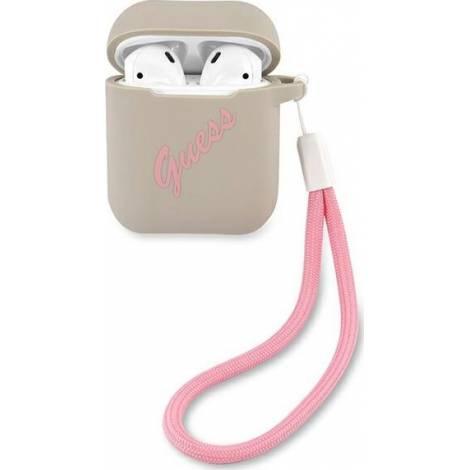 Guess Silicone Vintage Γκρι θήκη για Apple Airpods (Pink Logo)