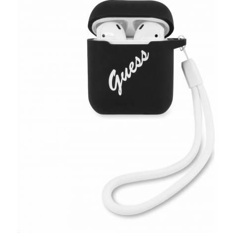 Guess Silicone Vintage Μαύρη θήκη για Apple Airpods (White Logo)