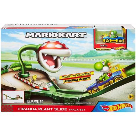Hot Wheels Mariokart Piranha Plant Slide Track Set Yoshi (GFY47)