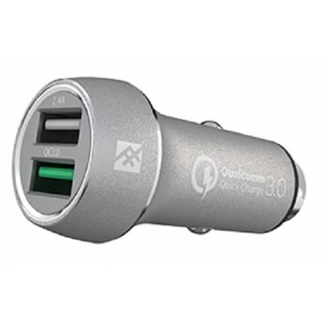 IFROGZ UNQ SYNC DUAL USB CAR CHARGER 5.4Α QC3.0 SILVER (IFUSCH-SV0)