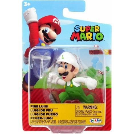 Jakks Pacific - Φιγούρα 6,5 cm Super Mario Wave 25 - Fire Luigi (JPA40538)