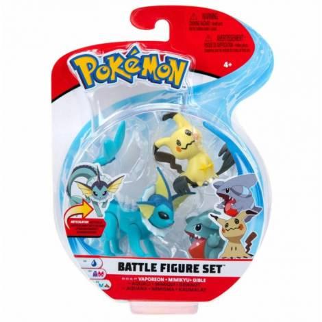 Jazwares - Pokemon: Φιγούρες 3 τεμ. - Vaporeon, Mimikyu & Gible - W8 (JW095155-B) (PKW0173)