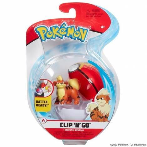 Jazwares - Pokemon: Poke Ball Clip N Go με φιγούρα - Growlithe & Repeat Ball - W7 (JW095057-B)