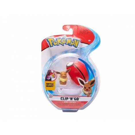 Jazwares - Pokemon: Poke Ball Clip N Go με φιγούρα - Eevee & Poke Ball - W7 (JW095057-B)