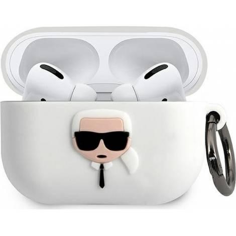 Karl Lagerfeld Karl`s Head Λευκή θήκη για Apple AirPods Pro
