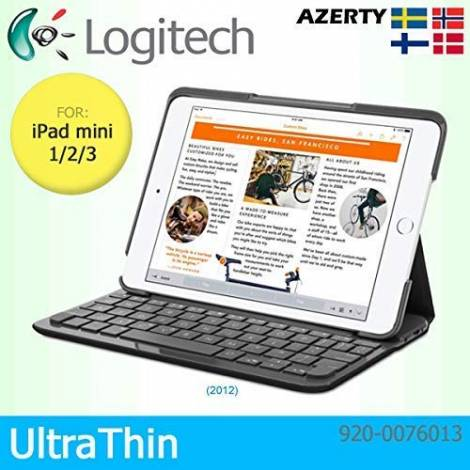 Logitech Canvas Protective Folio Cover Case with Integrated Bluetooth Keyboard for Apple iPad mini 1/2/3 Only - QWERTY Nordic Keyboard Layout - Black (920-007613)